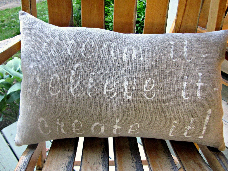 Linen hand painted pillow