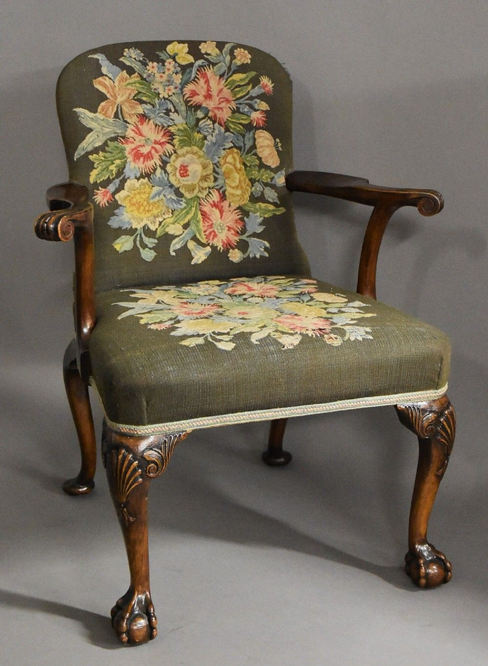 Early 20thc mahogany open armchair in the style