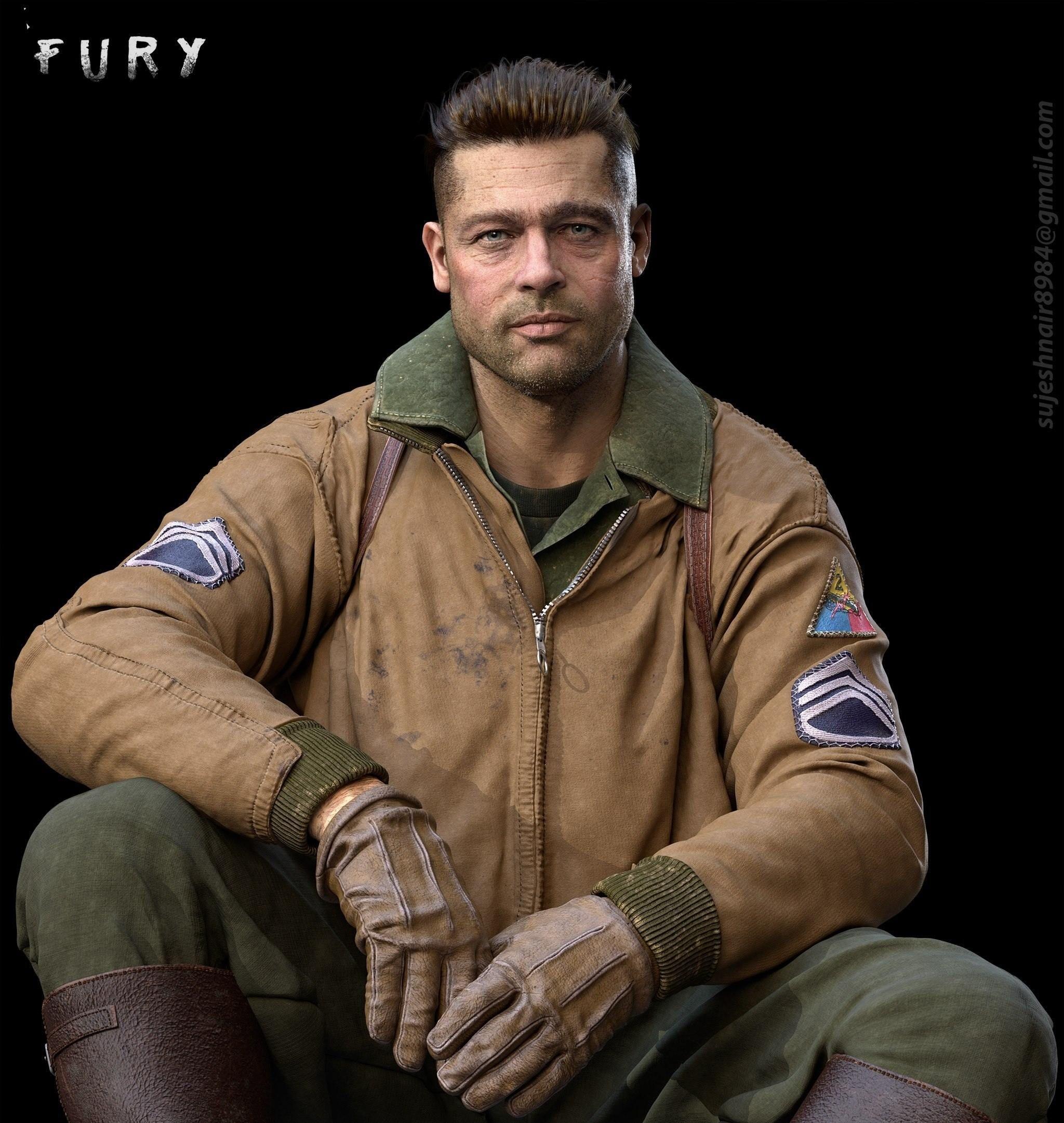 Fury brad pitt by sujesh s nair character modelers pinterest fury brad pitt by sujesh s nair urmus Images