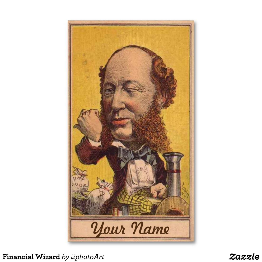 Financial Wizard Business Card This humorous vintage image of a ...