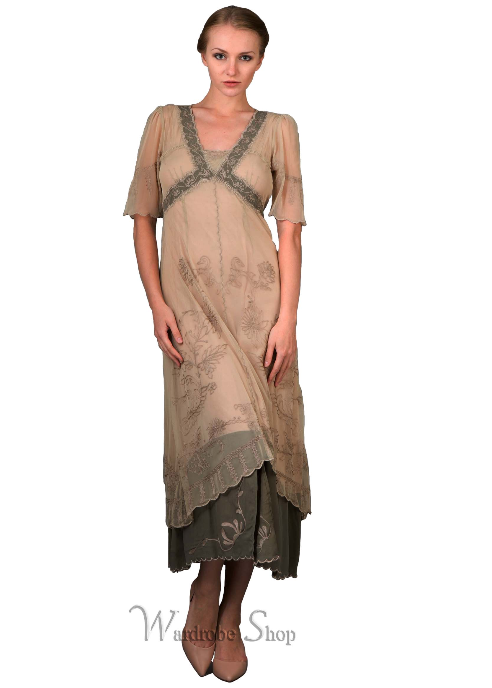 New Vintage Titanic Tea Party Dress In Sage By Nataya Nataya Dress Victorian Fashion Dresses Dresses [ 2332 x 1667 Pixel ]
