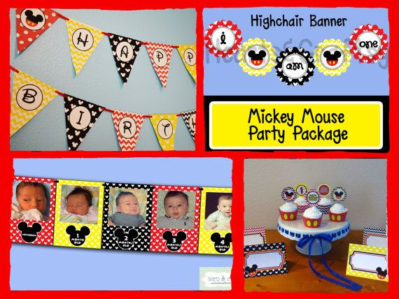 Mickey Mouse Party Printable Cupcake Toppers by HeartsandCraftsy