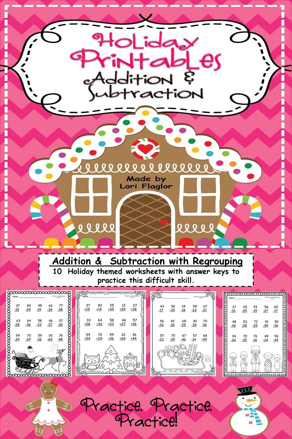Christmas Printables Addition Subtraction With