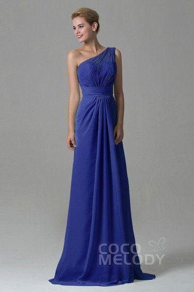 8a2a64d9338 Charming Sheath-Column One Shoulder Natural Floor Length Lace Chiffon  Sleeveless Side Zipper Bridesmaid Dress COZK16004