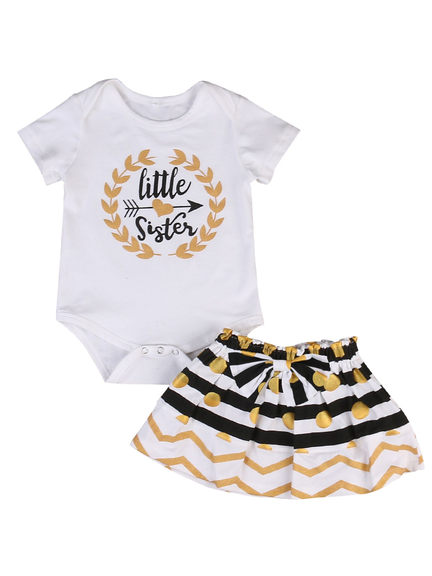 Infant Baby Girl Little Big Sister Matching Clothes Romper T-shirt