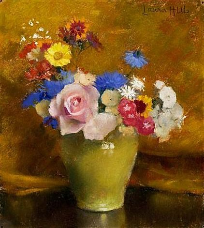 Laura Coombs Hill Flowers in a Yellow Jar Late 19th - early 20th century