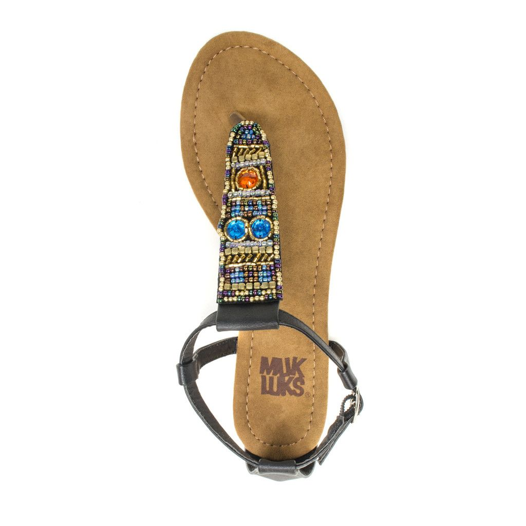 Dress your feet up with MUK LUKS Monica Beaded Sandals. With a neutral  shade of Black, you will want to wear them with everything.