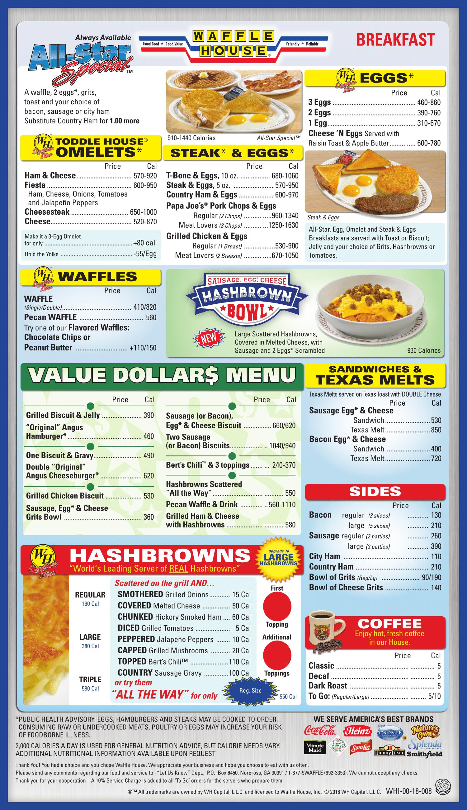 The Waffle House Menu Waffle House Menu Waffle House Waffles