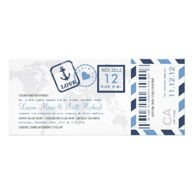 Boarding Pass Nautical Airmail Ticket Invitation Ticket invitation - ticket invitation template