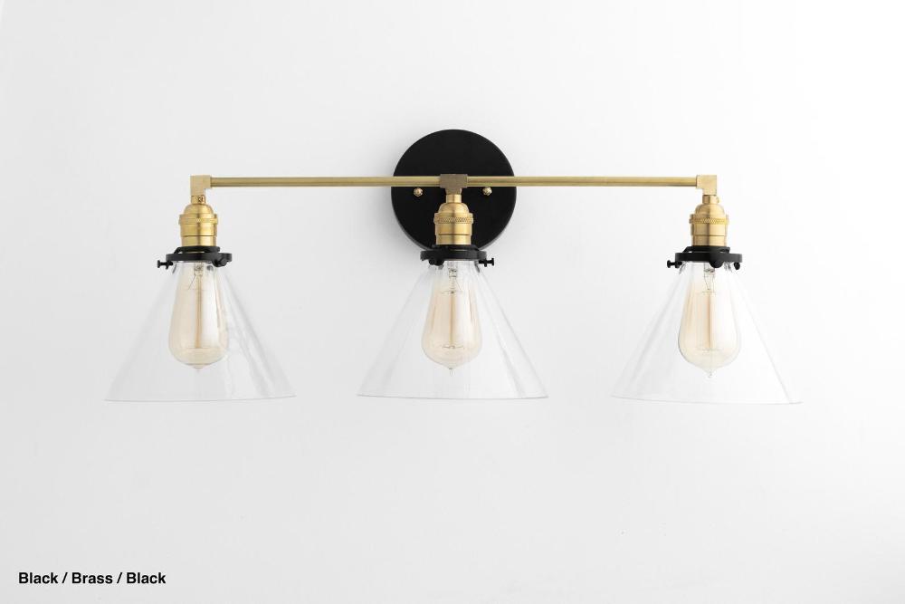 Photo of Bathroom Lighting – Three Light Vanity – Mirror Light – Bathroom Fixture – Brass Light – Mirr…