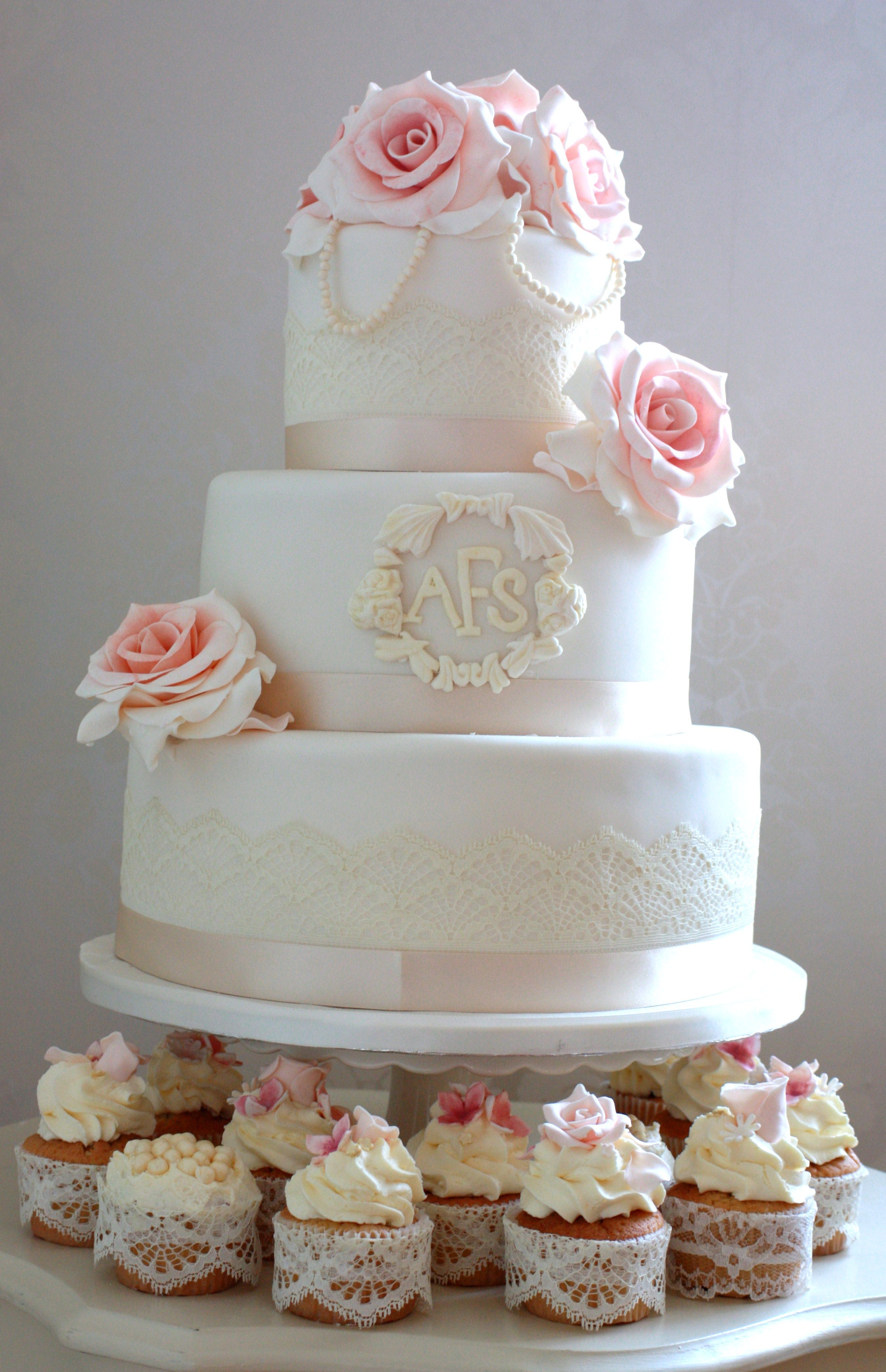 3 Tier Vintage Wedding Cake With Blush Pink Roses Pearls And Name Plaque Complete With Rose Wedding Cakes With Cupcakes Reception Cake Wedding Cakes Vintage