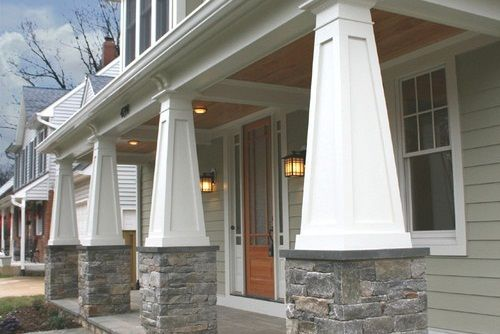 Craftsman Tapered Columns Simple Front Porch Designs With