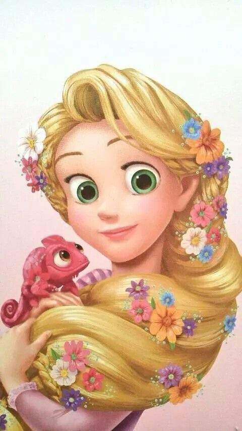 An artwork. How Rapunzel holds her braid for Pascal is ...