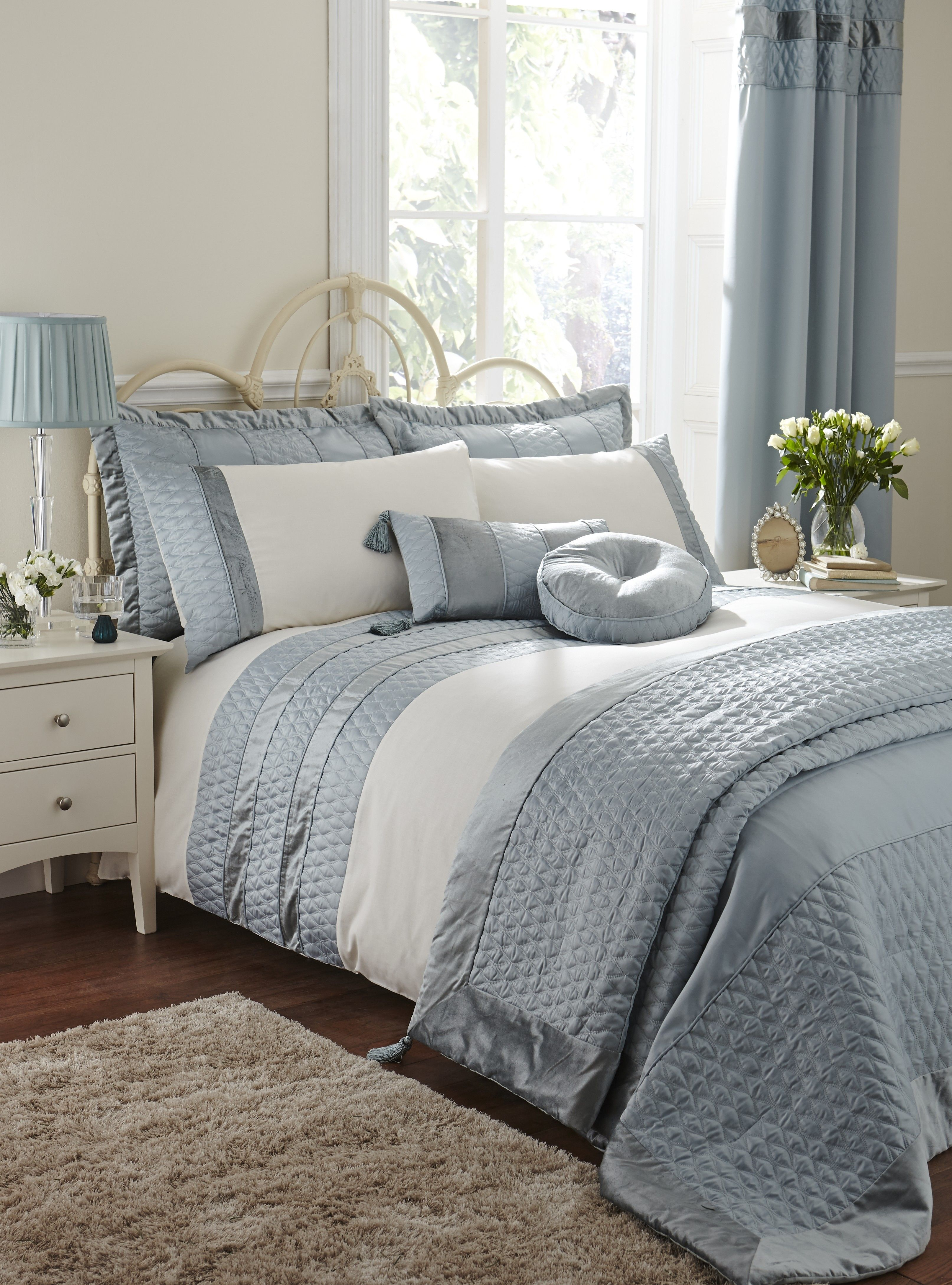 Life From Coloroll Aston Quilted Panel Duvet Set Duckegg Ponden Homes