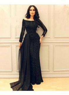 abendkleider lang schwarz  günstig abendkleid mit Ärmel online modellnummer xy541bc0050