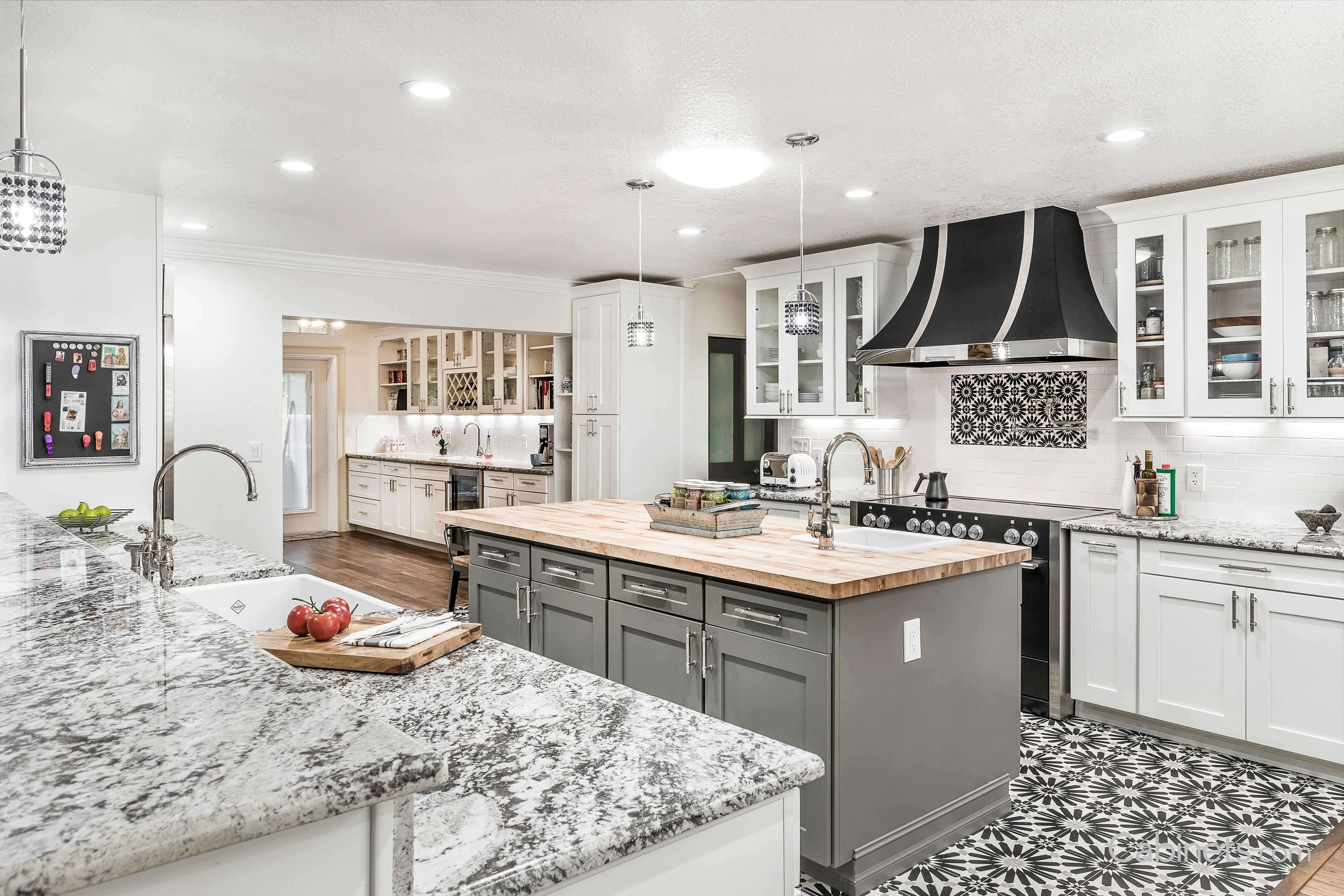 Vintage Style White And Grey Kitchen With Moroccan Inspired Tile Classic White Kitchen Grey Kitchen Kitchen Style