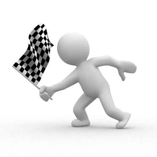3d Human With Checkered Flag Bonhomme Blanc