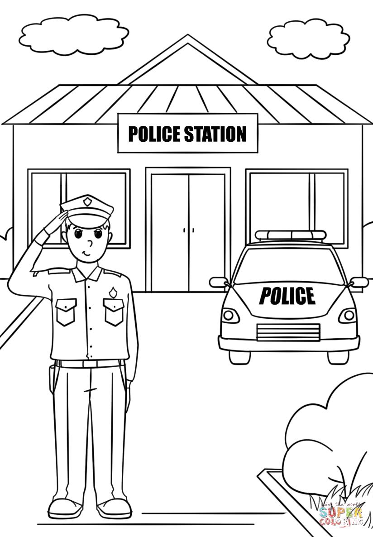 Police Station Super Coloring Police Station Coloring Pages Kindergarten Coloring Pages