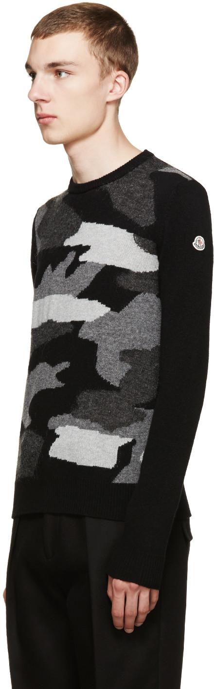 Moncler Black Camo Intarsia Sweater