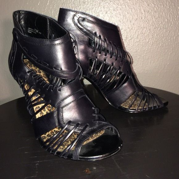 """💥SALE💥Chinese Landry Black Strappy stilettos CHINESE LAUNDRY 4"""" heel Strapy black leather sandals. Worn once. Soles are leopard print snakeskin. So so comfy. I just prefer higher heels. The higher the heel the closer to heaven💕 no flaws. No scratches. Perfect condition. Chinese Laundry Shoes"""