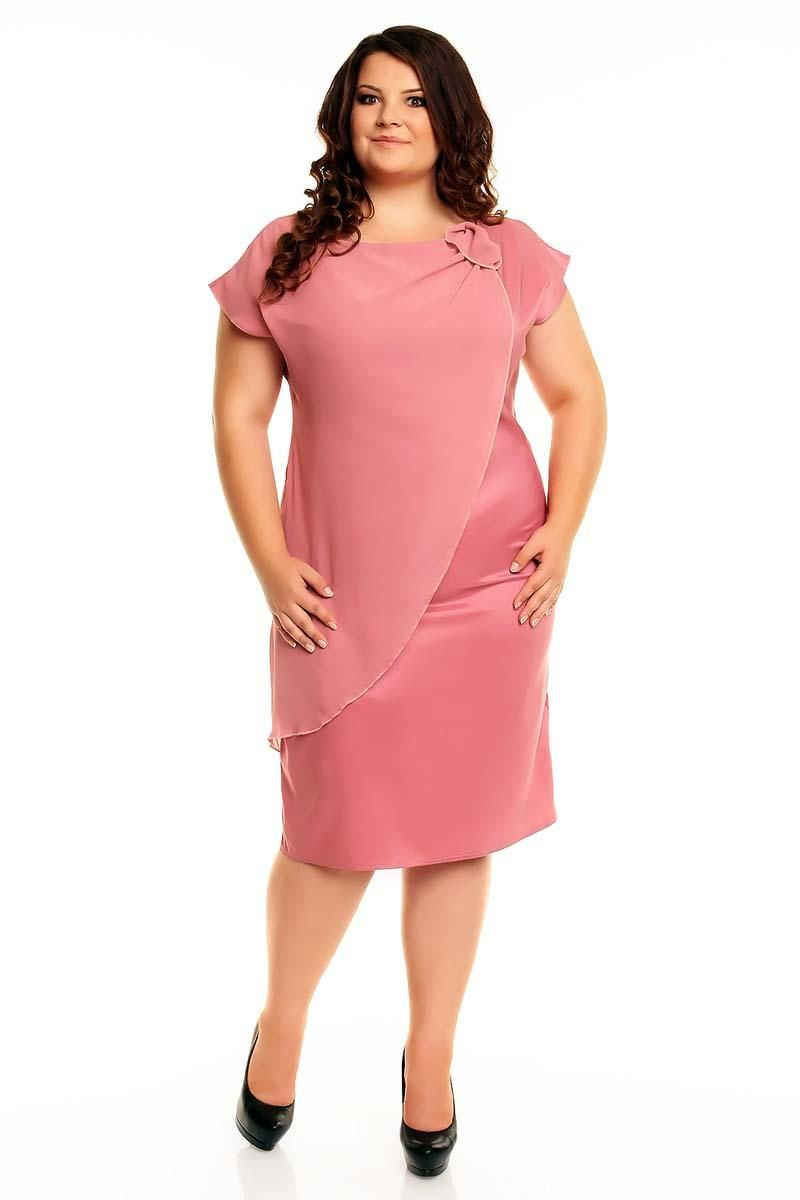 Pink Evening Short Sleeves Dress PLUS SIZE | Plus size | Pinterest ...