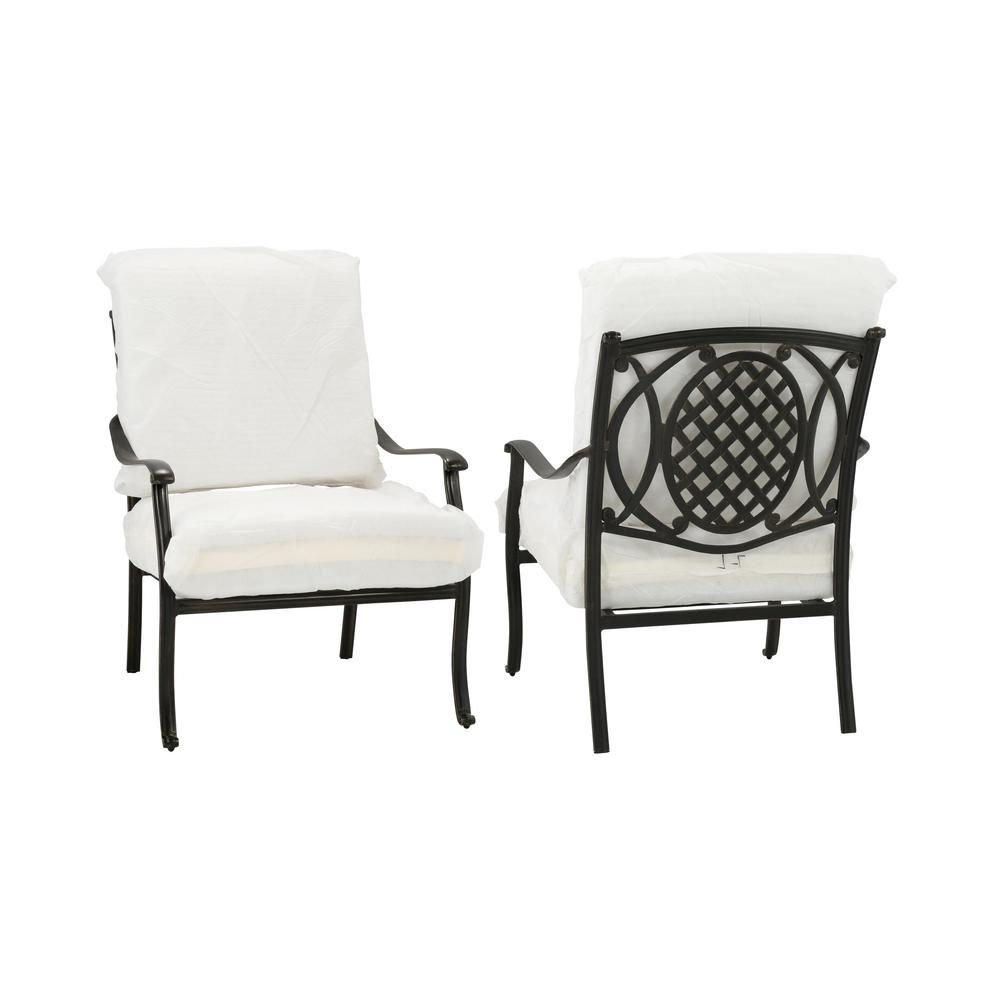 Hampton Bay Belcourt Stationary Patio Lounge Chair With Cushion