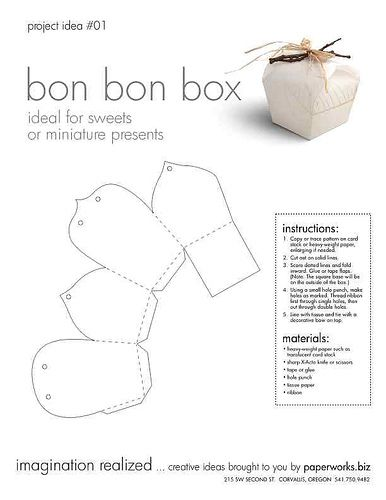 bonbon box Box, Origami and Template - shipping manual template
