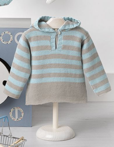 Striped Cotton Hoodie For Baby Free Knitting Pattern Baby Sweaters