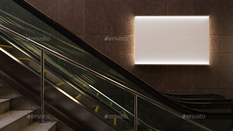 3d Animated Escalator Lightbox Mockup Light Box Escalator Mockup