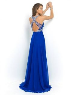 d2a1eb2933 A-line Princess High Neck Sleeveless Beading Floor-length Chiffon Dresses  Its all good until you see the back.