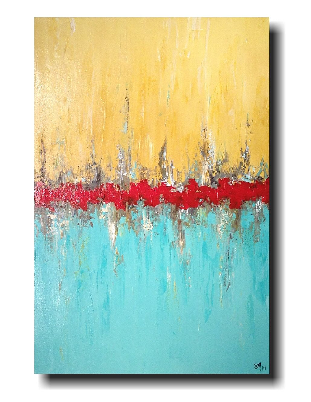 Original Large Abstract painting - 24 X 48 -by Artist JMJartstudio ...