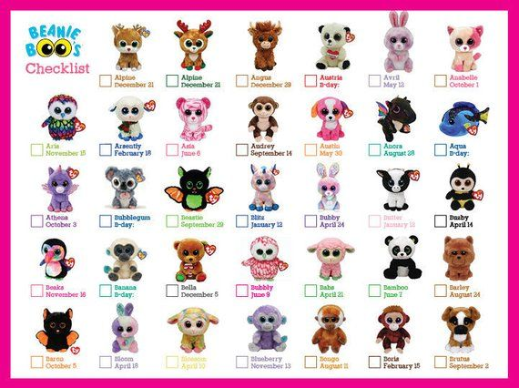 Beanie Boo Checklist - Instant Download - 8 x 10.5 Check your TY Boos off  this 828b285ebe1