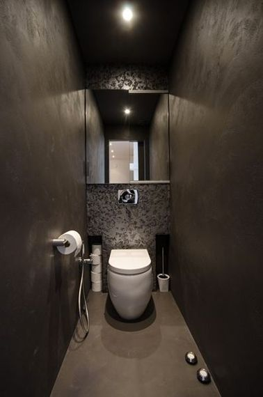 d co toilettes grise peinture et d co wc avec du gris murs en stuc cuvette suspendue et. Black Bedroom Furniture Sets. Home Design Ideas