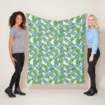 Green Palm Tree Leaves Tropical Jungle Pattern Fleece Blanket | Zazzle.com #junglepattern