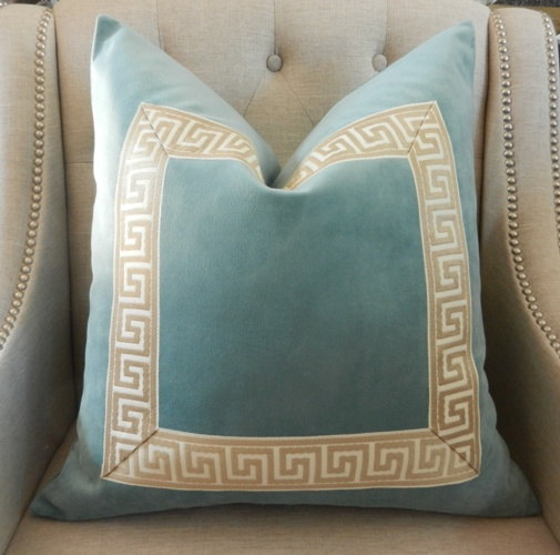 Aqua Velvet Pillow Cover Made To Order 20 X20 With Attached Greek Key Trim In Beige