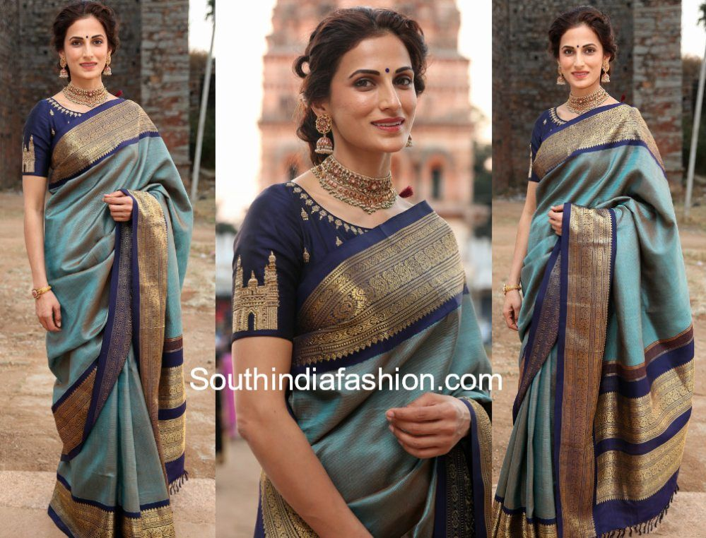 de9be64535db9d Shilpa Reddy attended Gudi Sambaralu 2018 wearing a blue pattu saree paired  with boat neck Charminar embroidered blouse.