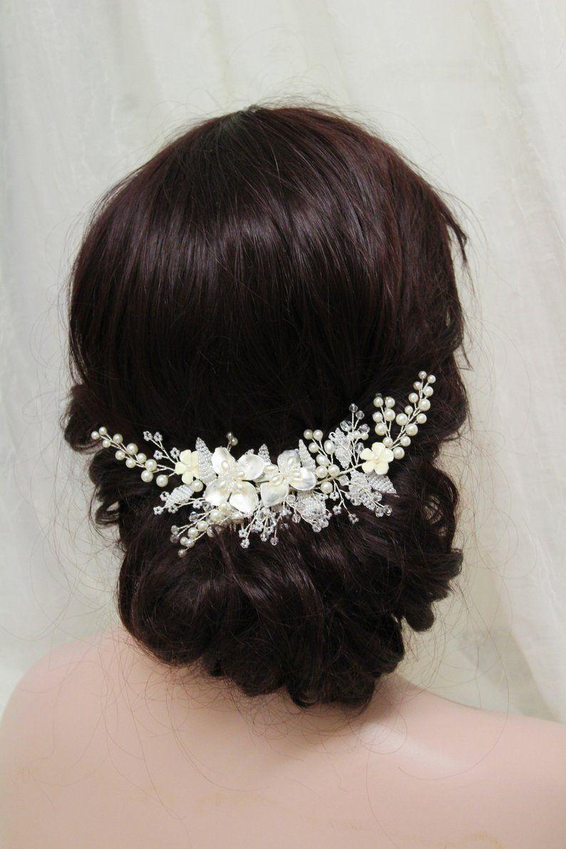 silver wedding hair piece bridal back headpiece pearl