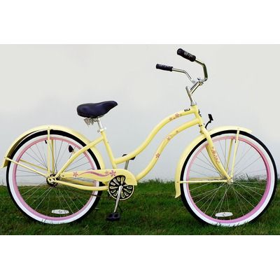 Ladies Single Speed Deluxe Beach Cruiser with Pink Wheels