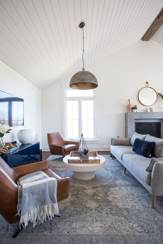 This navy and gray midcentury meets modern farmhouse living room by coco jack gets recreated