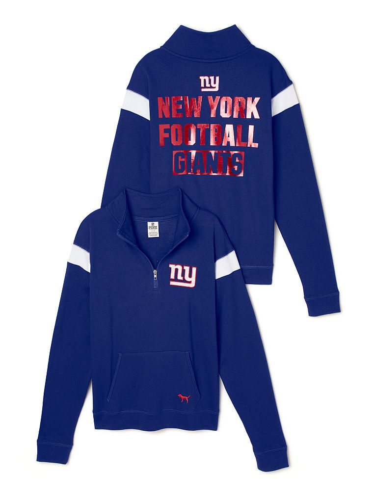 New York Giants Bling Boyfriend Half-Zip  69.95 from Victoria s Secret PINK  - NFL collection. -------- football. NY. big blue. pullover sweater. team.  ... 7ac5149dd