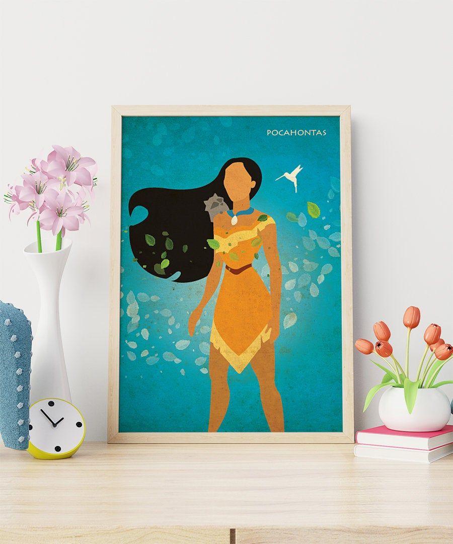Disney princess pocahontas wall art nursery print girl