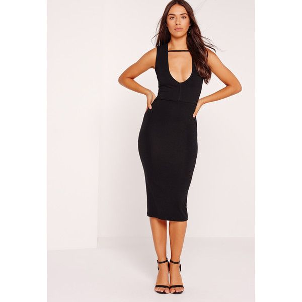 Missguided Extreme Plunge Midi Band Dress (£15) ❤ liked on Polyvore featuring dresses, black, plunge dress, plunge midi dress, mid calf dresses, calf length dresses and mid calf cocktail dresses