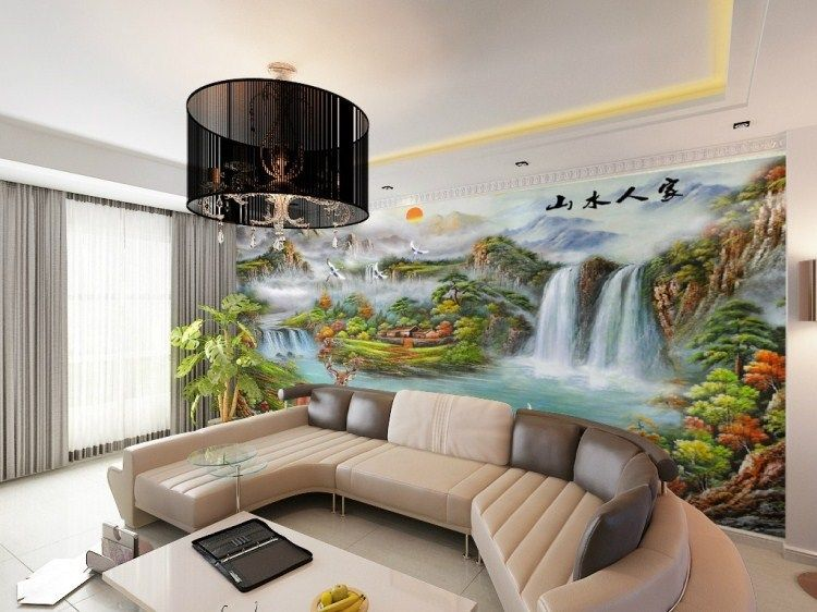 Living Room With Tv And People custom-mural-wall-bedroom-tv-background-wallpaper-the-living-room