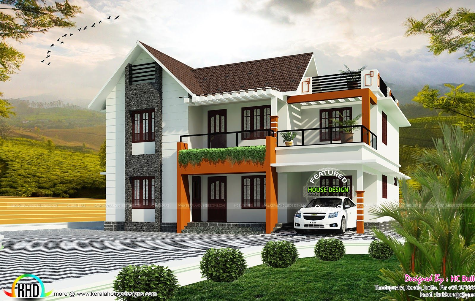 1800 Sq Ft 2 Floor House Plan Kerala House Design Narrow Lot House Plans House Designs Exterior