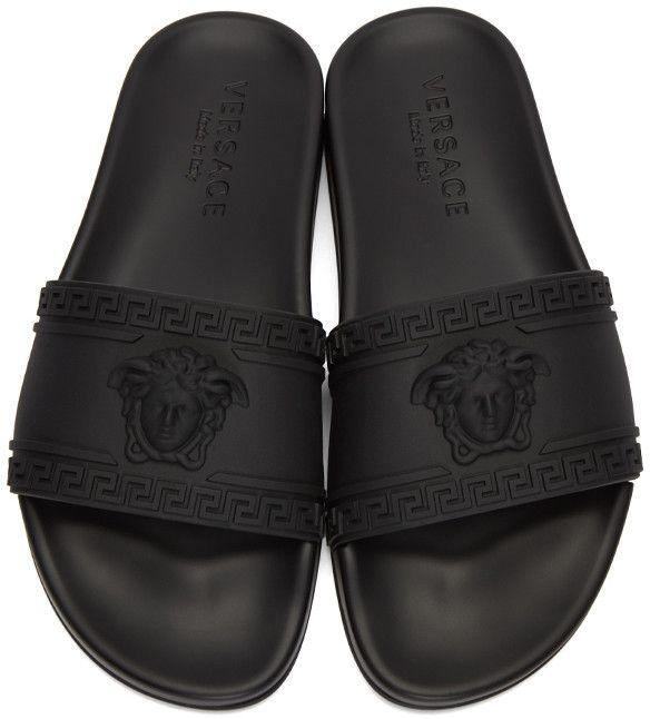 Versace - Black Medusa Slide Sandals