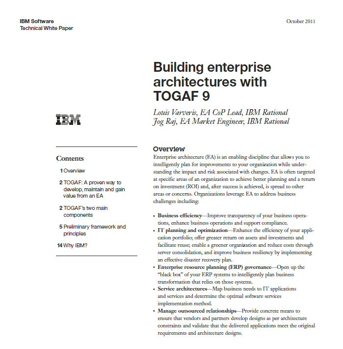 Togaf 9 Technical Whitepaper By Ibm