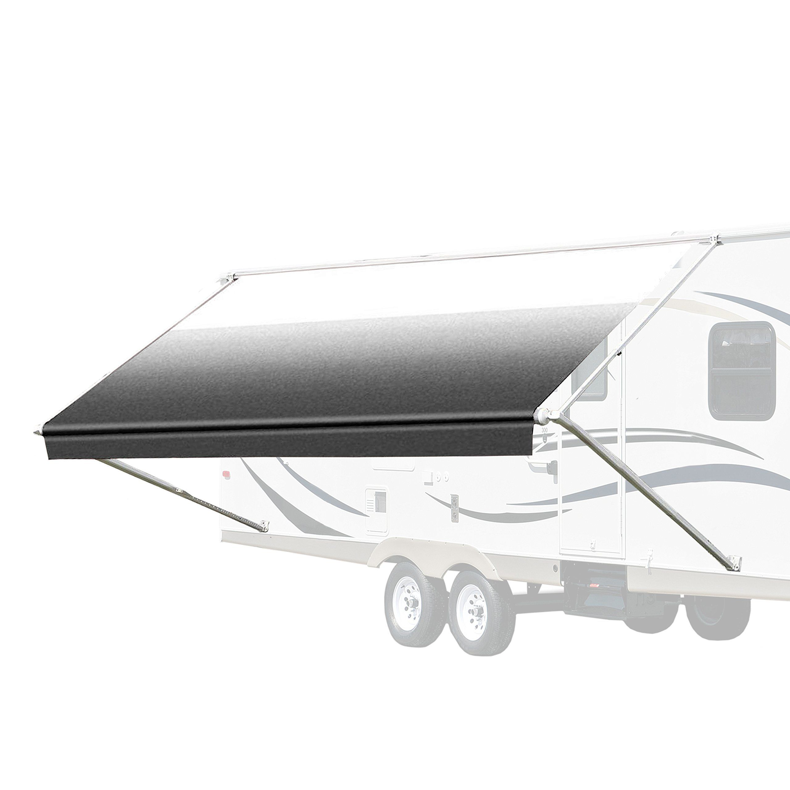 Aleko 16x8 Feet Retractable Rv Or Home Patio Canopy Awning White To Black Fade Color Read More Reviews Of The Product Patio Awning Patio Canopy Hotel Canopy