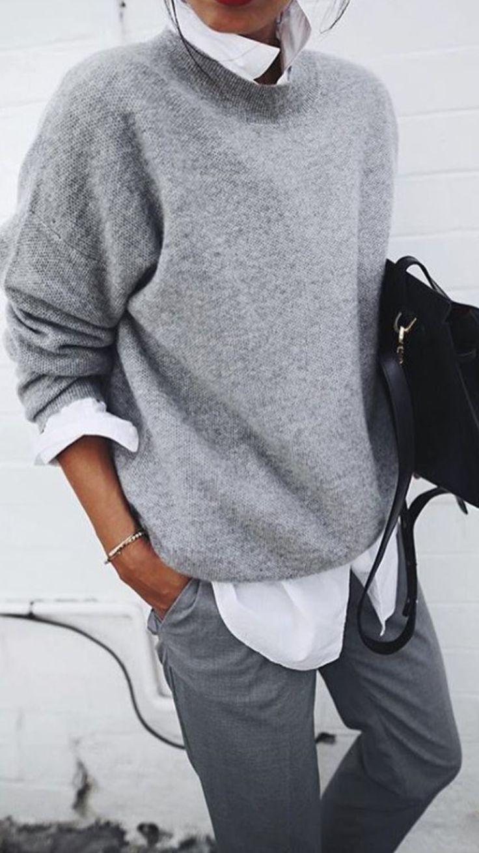 Weicher grauer Pullover mit weißem Hemd sieht toll aus #allwhiteclothes