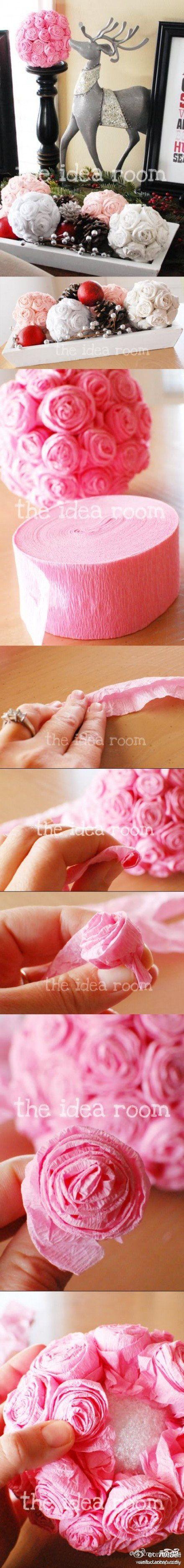 How To Make Tissue Flowers Pinterest Flower Ball Diy Flower And