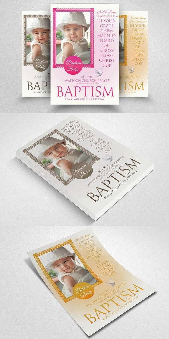 Baby Baptism Flyers Templates. Poster Templates. $6.00